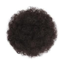 coletas sintéticas con cordón Rebajas # 4 postizos de cola de caballo de pelo de hojaldre sintético para updos African American Short Kinky Curly Wrap Bun Cordón para mujeres con 2 clips