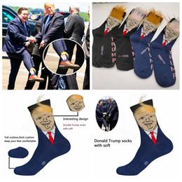 Trump chaussettes en coton pour hommes drôle Imprimer adulte Crew Socks Mid Avec sport athlétique faux cheveux 3D Chaussures de basket ball