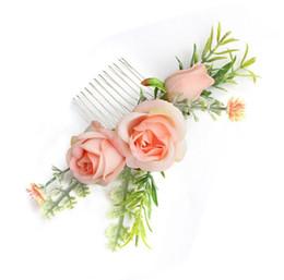 Canada Mode européenne et américaine fée tempérament peigne artisanat chiffon simulation fleur mariée cheveux peigne plage mariage demoiselle d'honneur cheveux decora Offre