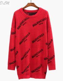 nueva jersey gratis Rebajas Moda Shipping2018 nueva moda suéter de las mujeres suéter de manga larga cuello redondo carta rojo / negro abrigo de suéter de las mujeres ocasionales
