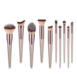 professional blenders Promo Codes - JIEFUXIN New 10pcs Luxury Champagne Gold Makeup Brushes Set Reals Professional Powder Blusher Blender Brush Professional Beauty Tools