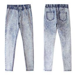 Canada Brand New Womens Designer Jeans Fashion Wash Élastique Bande Slim Pieds Pantalon en Jean Taille Haute Crayon Pantalon cheap womens elastic Offre