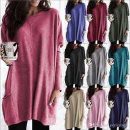 Senhoras longas jersey on-line-12 Cor S-5XL PLUS SIZE Mulheres Long Sleeve Jersey Túnica Top Ladies solto Jumper Pullover Blusa 57598571730519