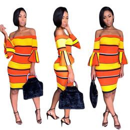 vestido naranja vendaje amarillo Rebajas Amarillo naranja raya sexy vendaje vestido de mujer slash cuello largo flare manga bodycon dress casual fuera del hombro sin espalda mini vestido NZK-1625