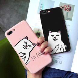 2020 caso medio di iphone 5s Cat Middle Finger per l'iPhone 6 7 8 6S Inoltre XR XS Max X 5 5S SE copertura del telefono di caso per iPhone 11 Pro Max TPU di colore della caramella caso medio di iphone 5s economici