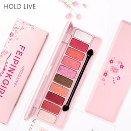Trucco di marca coreano online-HOLD LIVE Marca Makeup Coreano 10 colori Peach Matte Eyeshadow Palette Pink Mermaid Pigment Glitter Bagnato Ombretto in polvere Pallete