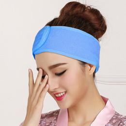 borrachas de plástico para telefone Desconto as mulheres da moda roupas sólida Spa Bath Shower Maquiagem lavagem da cara de algodão cosmético Headband Acessórios um pedaços