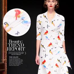 tecidos para impressão digital Desconto Novo pássaro seda crepe de Chine tecido de impressão de tecido 140 cm de largura 16 mm de jato de tinta digital natural vestido de seda camisa de roupas