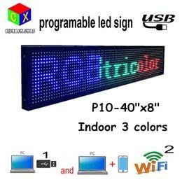 2020 wifi llevó señal P10 SMD Wifi Mensaje móvil programable BGR 3 colores Tablero de letrero LED para escaparate Tienda publicidad Pantalla LED negocio rebajas wifi llevó señal