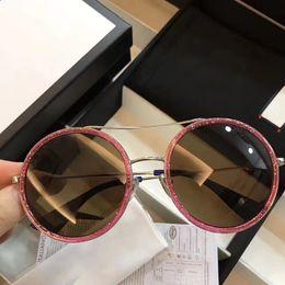 Óculos emoldurados em arco-íris on-line-Gucci GG0061 Novo Popular designer de Óculos De Sol de metal grande moldura Redonda Rainbow óculos de sobrancelha design criativo eyewear proteção UV400 vêm