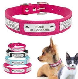 collari rosa piccoli cani Sconti Collare di cane in pelle con strass per cani Collari personalizzati in ID personalizzati per cuccioli di media taglia Piccolo colore rosa blu nero