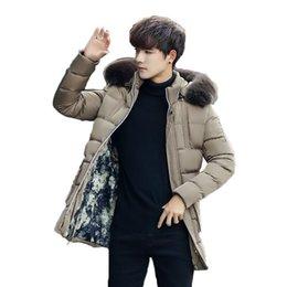 koreanische stil männer s kleidung Rabatt Baumwolle-gepolsterte Kleidung Herren Mid-Länge Winter-Thick Cotton-gepolsterte Kleidung Warme Jacke im koreanischen Stil Slim Fit Männer Baumwolljacke