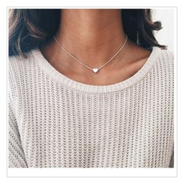 simple small necklace Promo Codes - Simple Necklace Gold Silver Plated Small Heart Necklaces For Women Collars Fashaion Jewelry Collarbone Pendant Necklace For Wedding