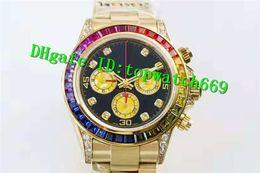 N Top Relógio De Luxo 7750 Movimento Cronógrafo Automático Safira Cristal Fantasia Diamante Bisel Rose Gold Sólida Caso Voltar Homens Relógio de