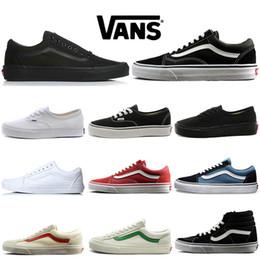 Zapatillas casuales rojas online-Vans Old Skool Zapatos de diseño Old Skool Fear of God Hombres Mujeres Zapatillas de lona Triple Negro Blanco Rojo Azul Moda Skate Zapatos casuales 36-44
