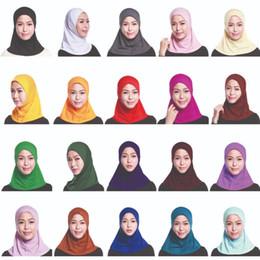 Chapéu islâmico das mulheres on-line-Cap Tampa Muslim Women completa Hijab Mini Cachecol Headwear Turban Hat Headcover islâmica Sob Cachecol cor sólida Lenço Amira Ninja