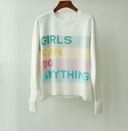 NELL CO GIRLS JUMPER pull en coton à manches retroussées en maille jacquard Slogan coloré LES FILLES PEUVENT FAIRE TOUT la mode TOP FEMME ? partir de fabricateur