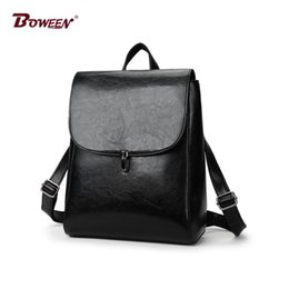 8f298e0ca262 Oil wax leather backpack women Hasp solid black high school back pack  female College style Casual bagpack youth mochilas mujer
