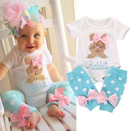 Niña bebé pascua online-Easter Baby Girls Romper trajes de conejo Infant Bunny Romper + Dot Bow Leggings sets Boutique de moda de verano para niños Conjuntos de ropa