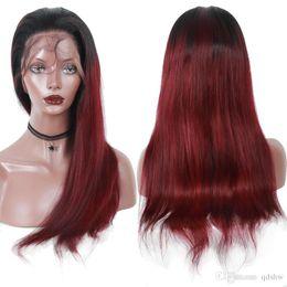 burgund rote haarfarbe Rabatt Burgunder Echthaarspitzeperücken Ombre 99J Weinrot Haarfarbe Lace Front Perücken Vorgezupfte Brasilianische Glatt Echthaarperücken Ombre