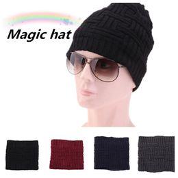 Beanies oreilles en Ligne-Écharpe de laine tricotée pour femmes en hiver avec bonnet de laine, chapeau de ski au crochet solide, casquettes de plein air, foulards, couvre-oreilles partie HatsT2C5087