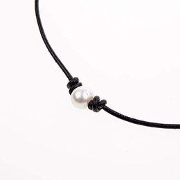 Искусственные кожаные чокеры онлайн-Женская мода ручной работы искусственный жемчуг кожа веревка колье ожерелье ювелирные изделия подарок новый горячий