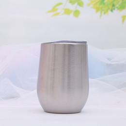 Bicchiere da vino in argento isolato Bicchiere in acciaio inox 12 oz Egg Cup Champagne Doubler da parete Tazze da caffè Festa di nozze Boccale di birra da
