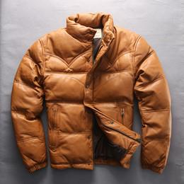 Cappotti di capre online-AVIREXFLY Giacca da uomo in pelle di capra con cerniera calda piumino giacca in vera pelle autunno inverno maschio Cappotti di grandi dimensioni M-4XL