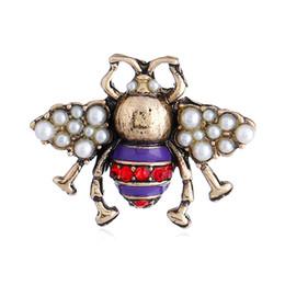 Schwarzer diamantstift online-Retro biene perlen brosche pins frauen mode tier diamanten broschen Designer pin schmuck drei farben rot schwarz lila kostenloser versand