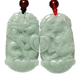 Jadeite colares on-line-Koraba Jóias Finas puro Jadeite Jade Dragão Phoenix Amor Par amuleto Pingente de colar natural Frete Grátis