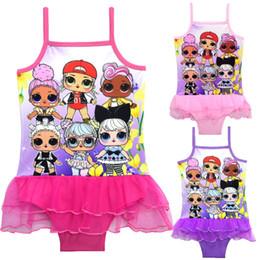 2019 traje de baño rosa una pieza 3 Colores LOL Muñecas Impreso trajes de baño para niños 3-10t Niñas bebés traje de baño de una pieza Chicas diseñador de trajes de baño bikini DHL SS137