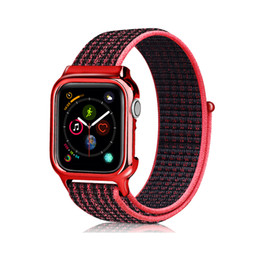 Nylon Loop Banda de tela trenzada + Cubierta protectora de marco de TPU Estuche de una pieza de repuesto Correa de reloj 40mm 44mm Para Apple Watch Serie 4 desde fabricantes
