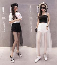 2019 модные юбки Черный белый 2019 лето новый возлюбленной панталончини сетка шитые оборки шорты поддельные из двух частей юбки женские модные джинсы короткие