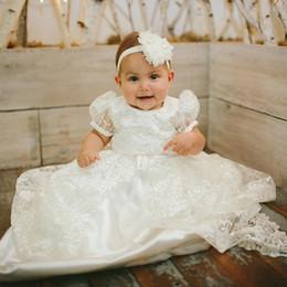 vestido de comunión escote ilusión Rebajas Princesa de encaje blanco para niños vestidos para niños bautizo Bautismo Vestidos cortos Vintage bautizo de las muchachas vestidos del vestido de la manga de los niños