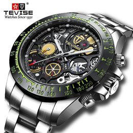 tevise brand watches Promo Codes - Fashion Brand TEVISE Automatic Mechanical Men Watch All Black Stainless steel Chronograph Date Dial Men Wristwatch Male Clock