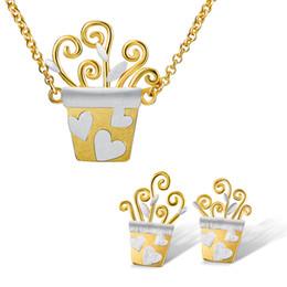 conjunto de jóias de prata de design de flores Desconto Lotus Fun real prata esterlina 925 Handmade Designer Fine Jewelry Adorável design romântico Flower Pot Set Jóias para Mulheres