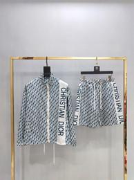Materialhemd stil online-19ss populärer neuer Stil voller Logo-Monographiedruck Langarmhemd + komfortables, hochwertiges Hosenmaterial. W11