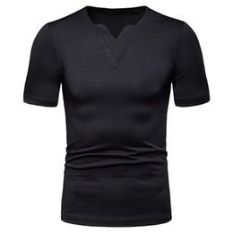 Magliette leggere online-T-shirt da uomo leggera estiva con scollo a V leggera nuova T-shirt da uomo manica lunga allentata a maniche lunghe tinta unita casual t-shirt XXL