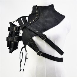Botón de cuero negro Remache Cuello alto Un hombro con armadura de bolsillo Steampunk Top Ropa gótica Accesorios de corsé vintage desde fabricantes