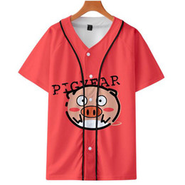 1dd5c94947f 2019 3D Lucky Pig Fashion Loose Short Sleeve Baseball T-shirt Men Women 3D  Kawaii Casual Lucky Pig Button Hip Hop Baseball Tshirt Top supplier kawaii  pig