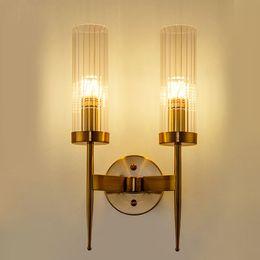 aplique de parede em metal Desconto Lâmpadas de Parede moderna de Metal Levou luz Da Parede para casa / banheiro / quarto / sala de estar decoração de vidro wandlamp sombra
