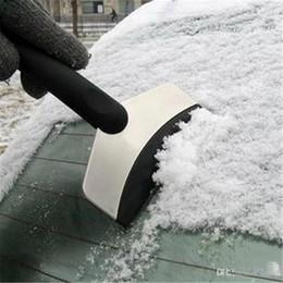 Pás de neve de aço on-line-Pá de neve de aço inoxidável Inverno deicing carro erradicar pá de neve Raspador de gelo sólido