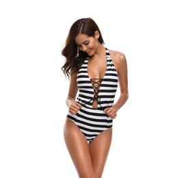 fatos de banho da marinha Desconto Novo biquíni sexy Mulheres Swimwear, Marinha Listra Bandage, uma peça Swimwear, Colar, Biquíni Praia Roupas maiô para as mulheres terno de praia
