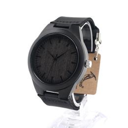 Мужские часы из черного дерева онлайн-2017 Top  Watches BOBO BIRD Mens Watches  Black Wood Watch Relojes Male relogio masculino C-F08