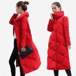 Mode Red Winter Daunenjacke weibliche lange Students New lose dicken Mantel 2018 Winter unten Parka Frauen Mantel Dame Oberbekleidung