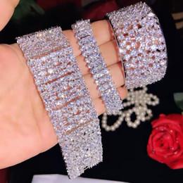luxus-weißgold gefüllt armband Rabatt Luxus Lady Big Armband Diamant Weißgold gefüllt Engagement Hochzeit Armband für Frauen Brautschmuck