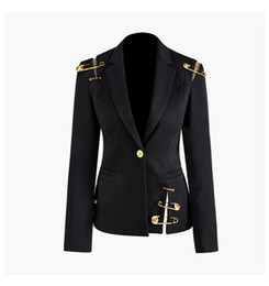 Blazers manches longues en Ligne-Nouvel Automne Hiver Femmes Noir Blazers Tête De Lion D'or Bouton d'or Broches Blazer Manteau À Manches Longues Mince Bureau Costume D'affaires Veste A114