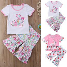 80af69c867b1d5 Kleinkind kinder baby mädchen outfits kleidung kurzarm kaninchen t-shirt  top dress + rüschen floral flare hosen kinder designer kleidung mädchen  by0885