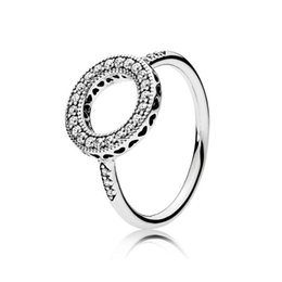 Formato degli Stati Uniti 6-7-8-9 anelli di cerimonia nuziale del diamante della CZ dell'argento sterlina 925 reale per l'anello dei monili del regalo delle donne di cristallo di Pandora con la scatola originale da