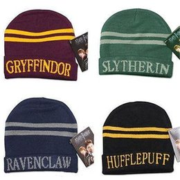 8 color Harry Potter Hat Hogwarts Gryffindor Slytherin Ravenclaw Hufflepuff  Badge Hat Skull Caps winter Hats Hallowmas Gift 100pcs T1I1148 discount  harry ... fd0bb6ea16b1